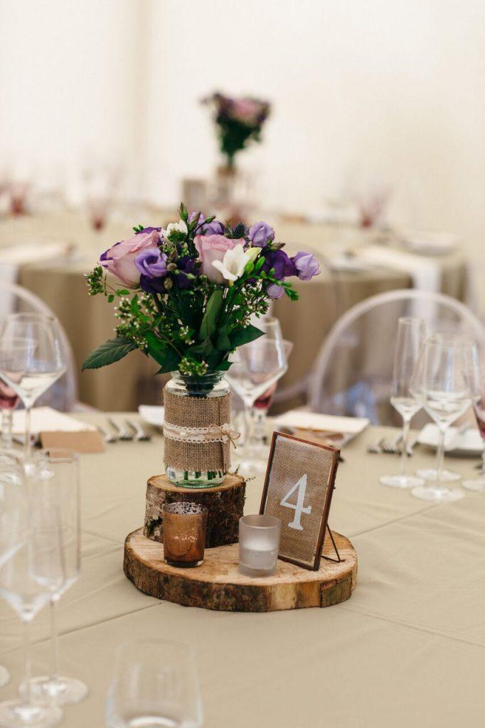 wedding breakfast decor ever after's log slice centrepieces