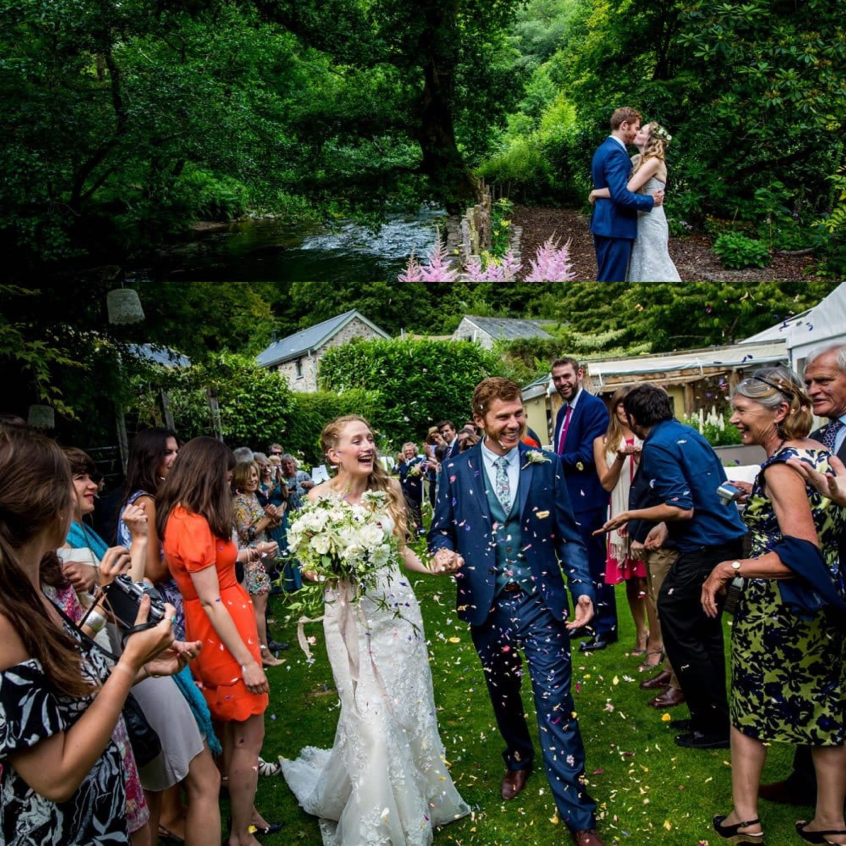 Woodland, wedding, ever after, lower grenofen, guests, friends, wedding party, greenery, woods, flowers, confetti, shot, colour, trees, party