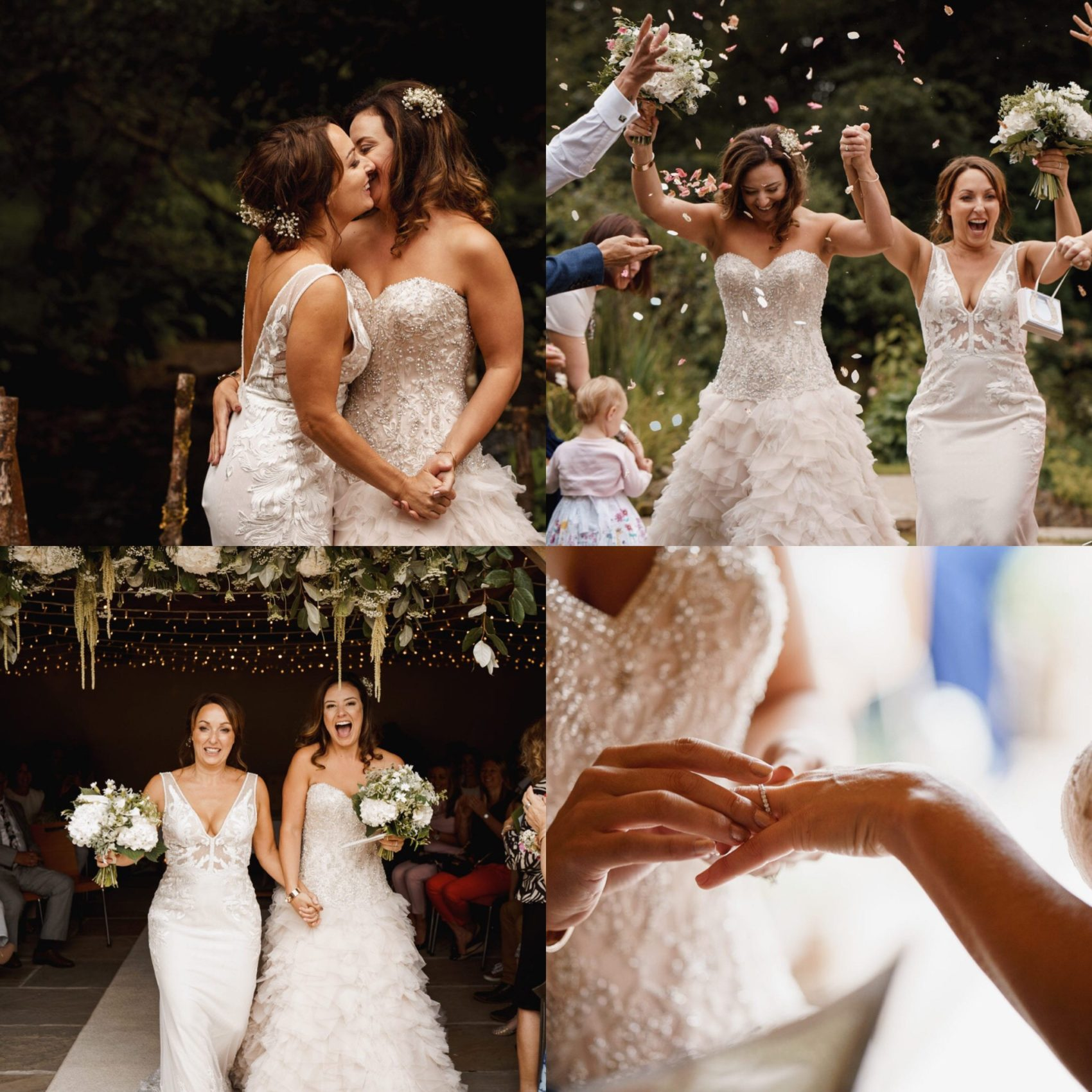 getting hitched, 2 girls, 2 brides, wedding dresses, dress, white wedding, confetti, bright, light, fun, ever after, lower grenofen