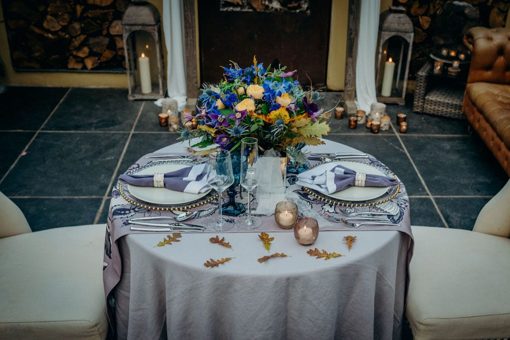 elopement wedding breakfast table set up