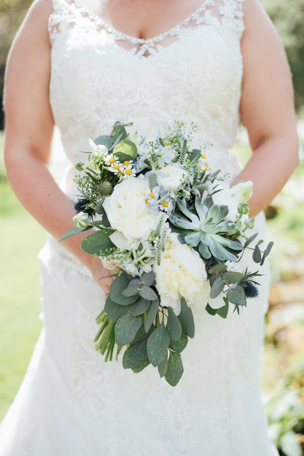 succulents, waterfall bouquet, on trend, green, foliage, natural, wild, cream, wedding flowers