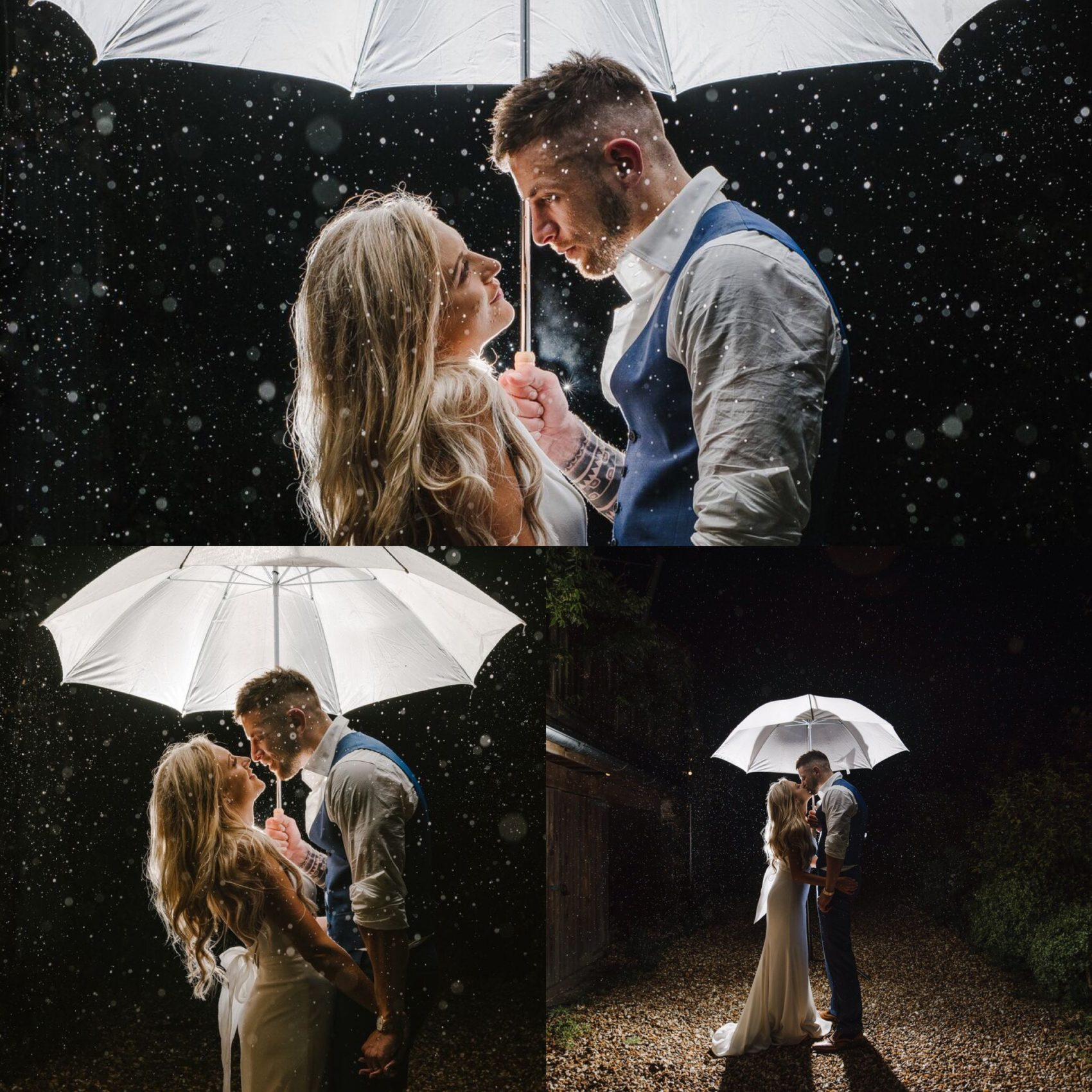 Rainy day, rain, umbrella, lighting, bride & groom, love, bokeh, wedding, lower grenofen, ever after, couple, magical, white, dress, suit,