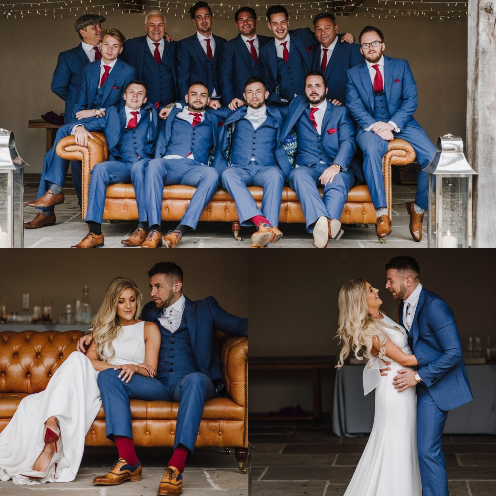Wedding party, bride & groom, vintage, sofa, red, navy, gangster, wedding, white dress, happy, posing, ever after, lower grenofen,