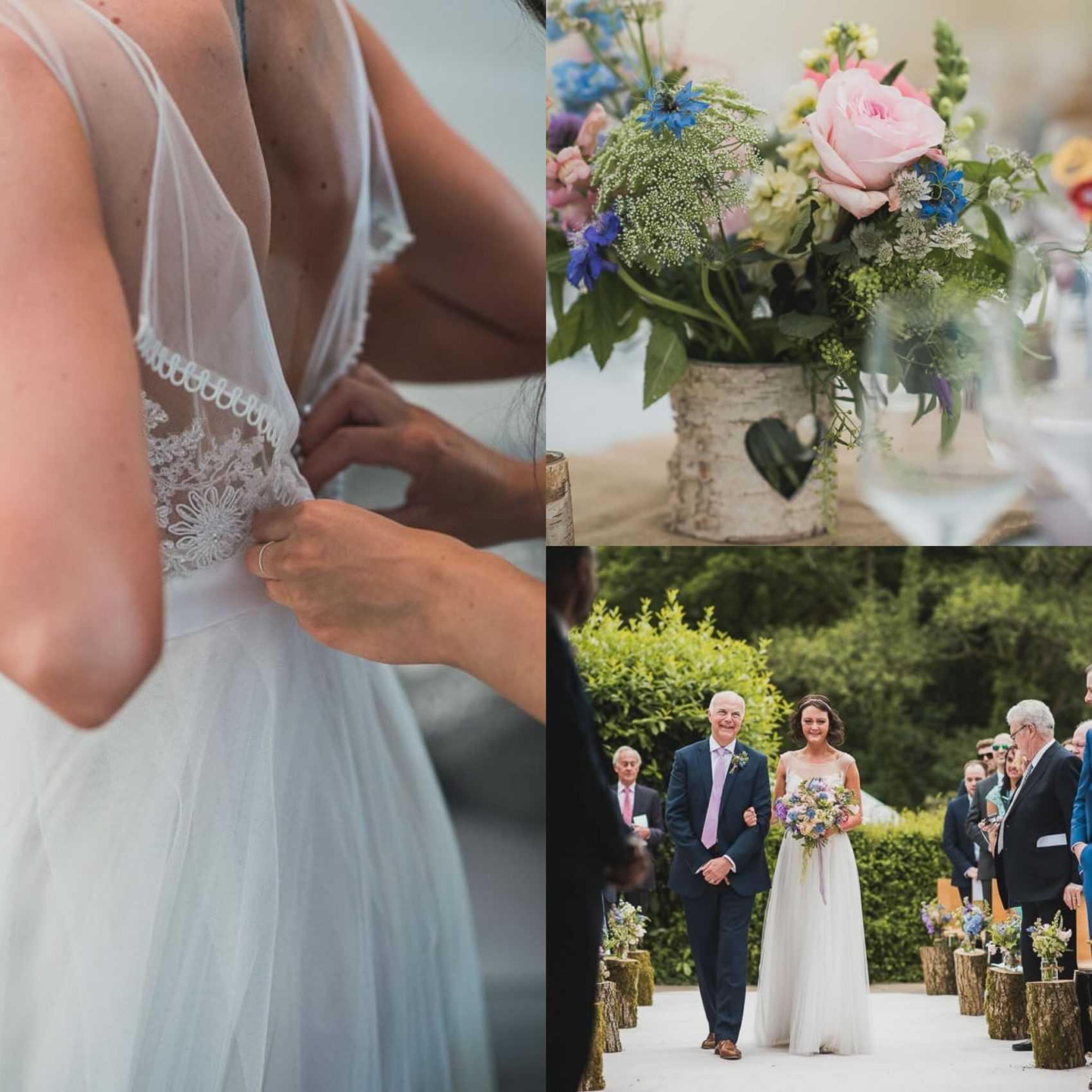 dress, close up, flowers, details, aisle, walking, father of the bride, bride, logs, back, getting ready, friends, guests, ever after, lower grenofen, nick walker