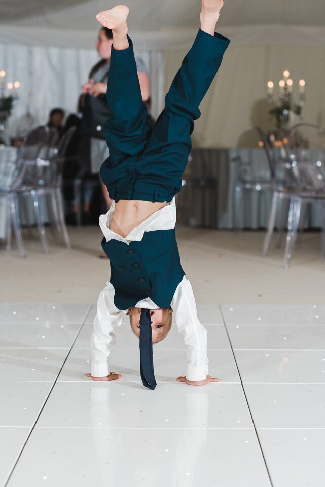 Children, dancing, dance floor, pulling shapes, hand stand, child, music, fun, laughing, wedding, ever after, 2019, marquee, evening, party, DJ, live music, breaking the ice,