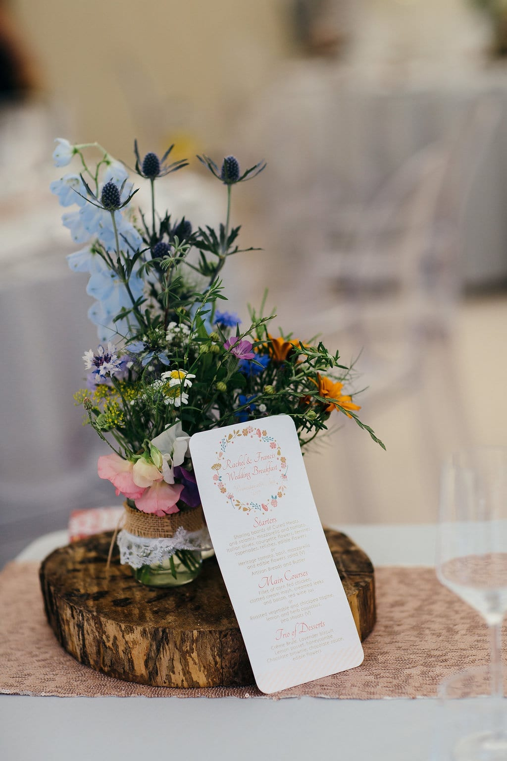 colourful floral wedding arrangement