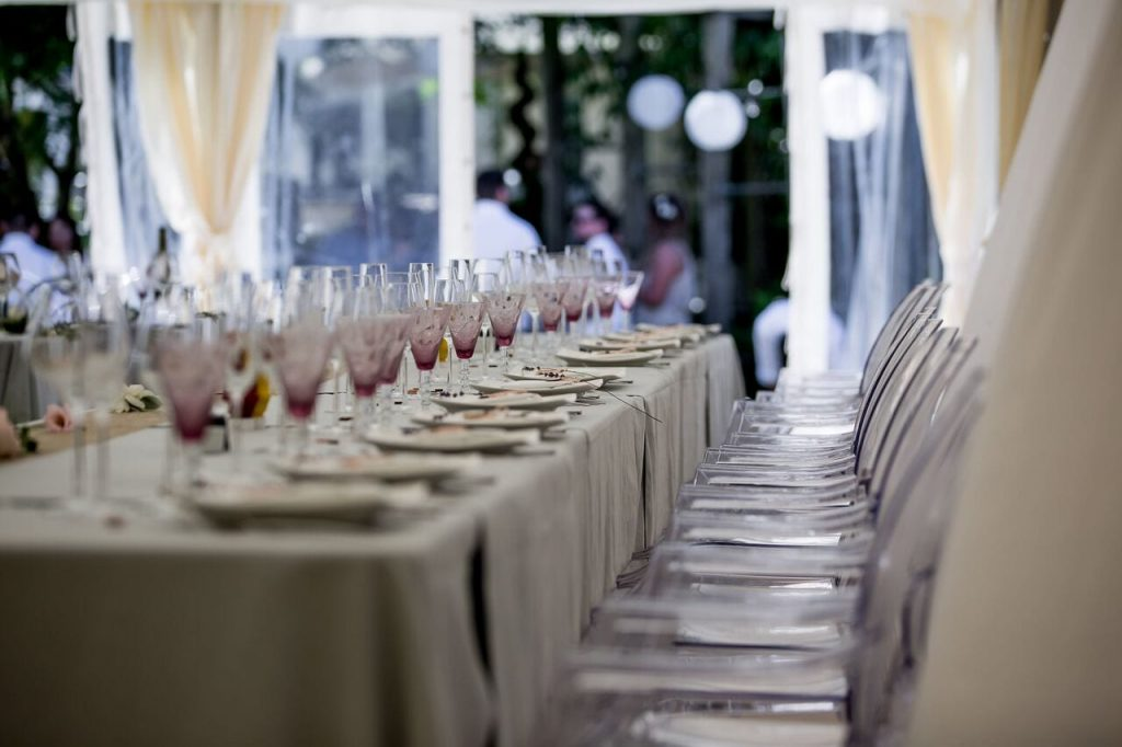 lavender trend ever after blog purple water glasses wedding breakfast marquee