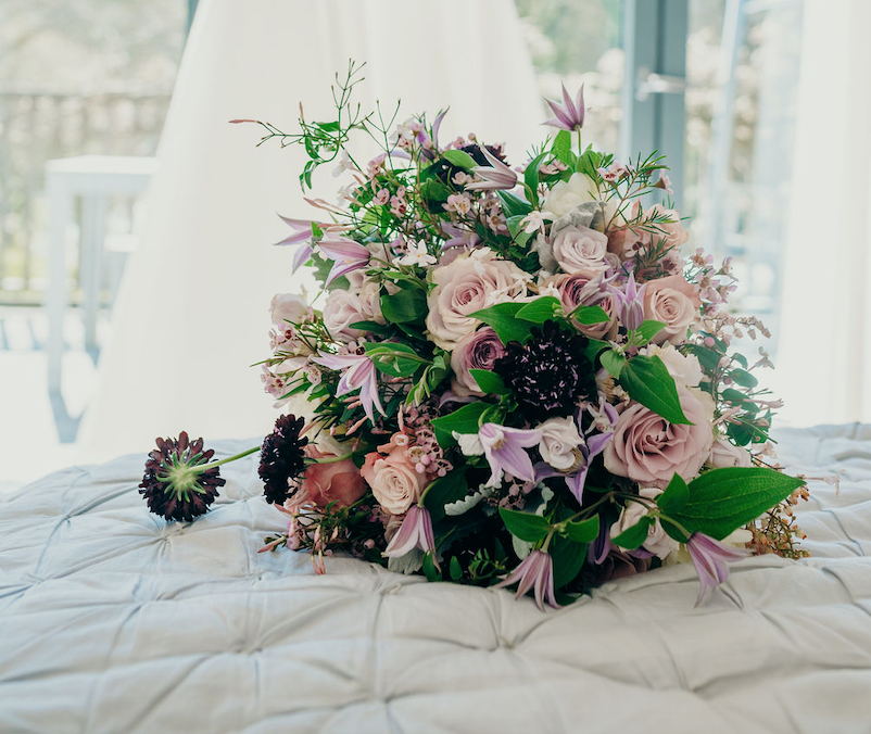 dusky pink, bouquet, floral, foliage, purples, beautiful, wedding, flowers