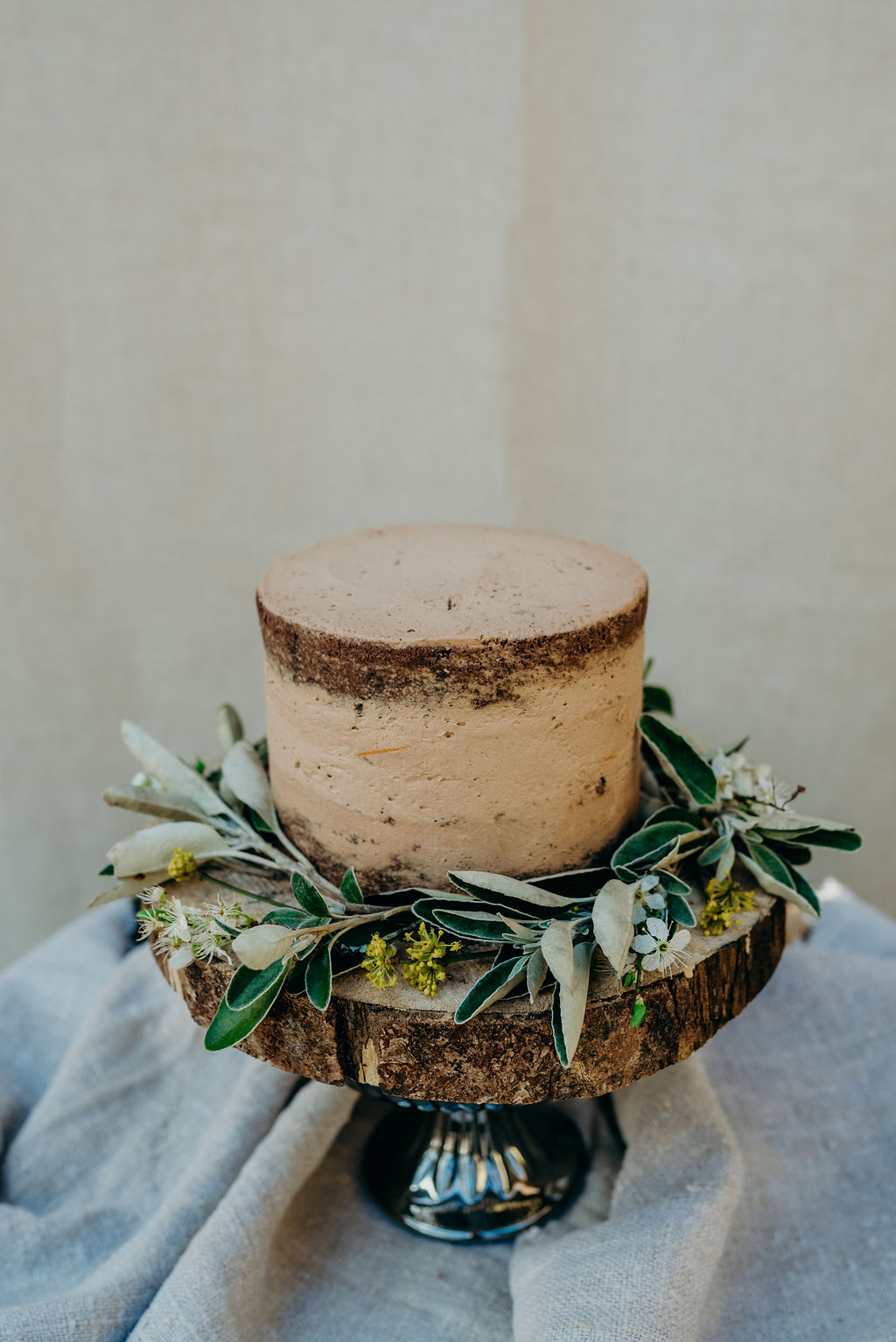 semi naked cake, elopement wedding cakes, chocolate, floral, foliage, miniature, ever after, lower grenofen