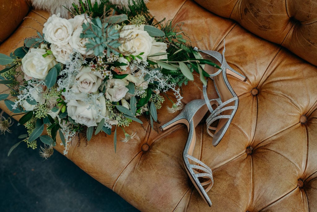 bouquet and brides shoes