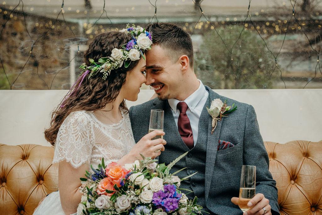 full, voluminous, flower crown, purple, white, roses, stunning, show stopper, wedding, elopement