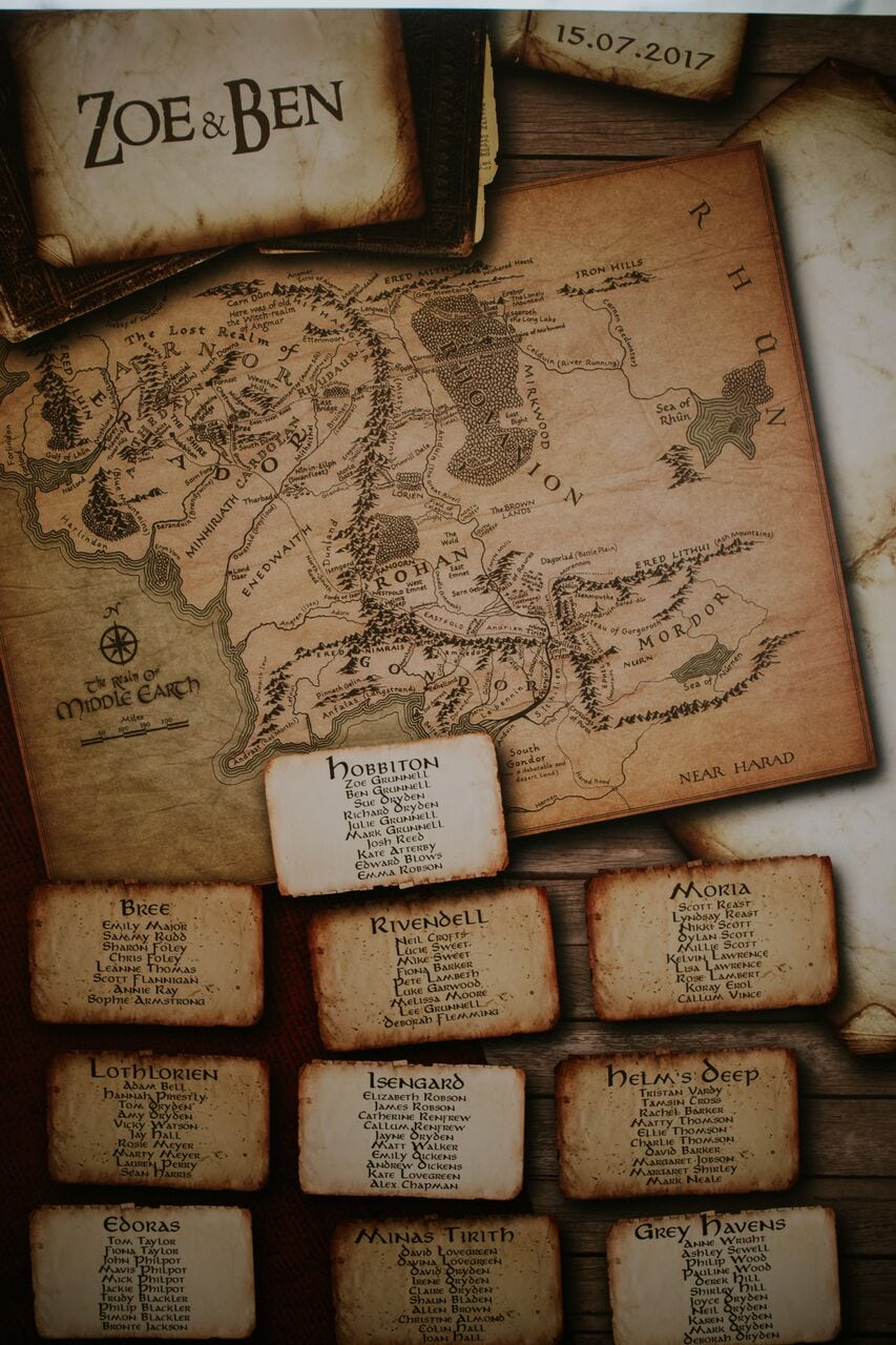 lord of the rings, table plan, wedding, ever after, 2019