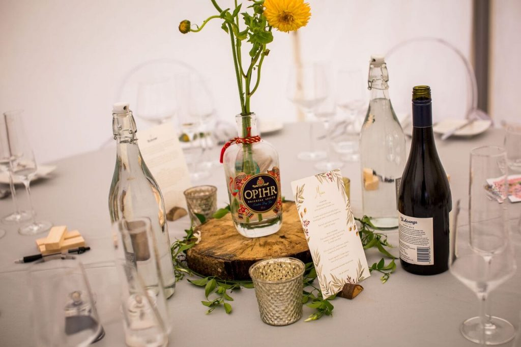 wedding breakfast decor ever after's log slice centrepieces