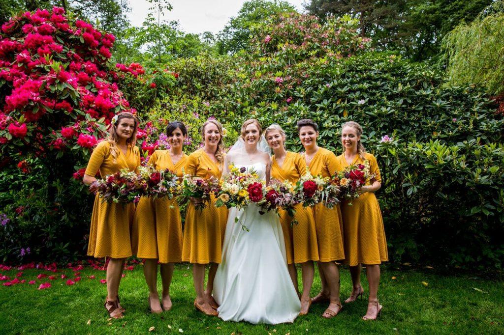 bridesmaids ever after blog post yellow bridesmaids short
