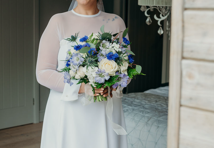 bouquet, bride, elopement 2019, ever after, blue, cream, foliage, wild, flowers