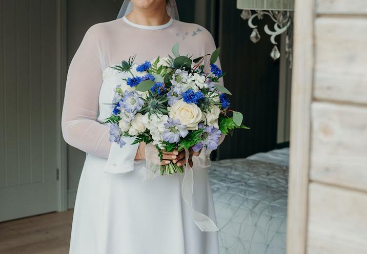 bouquet, bride, elopement 2019, ever after, blue, cream, foliage, wild, flowers