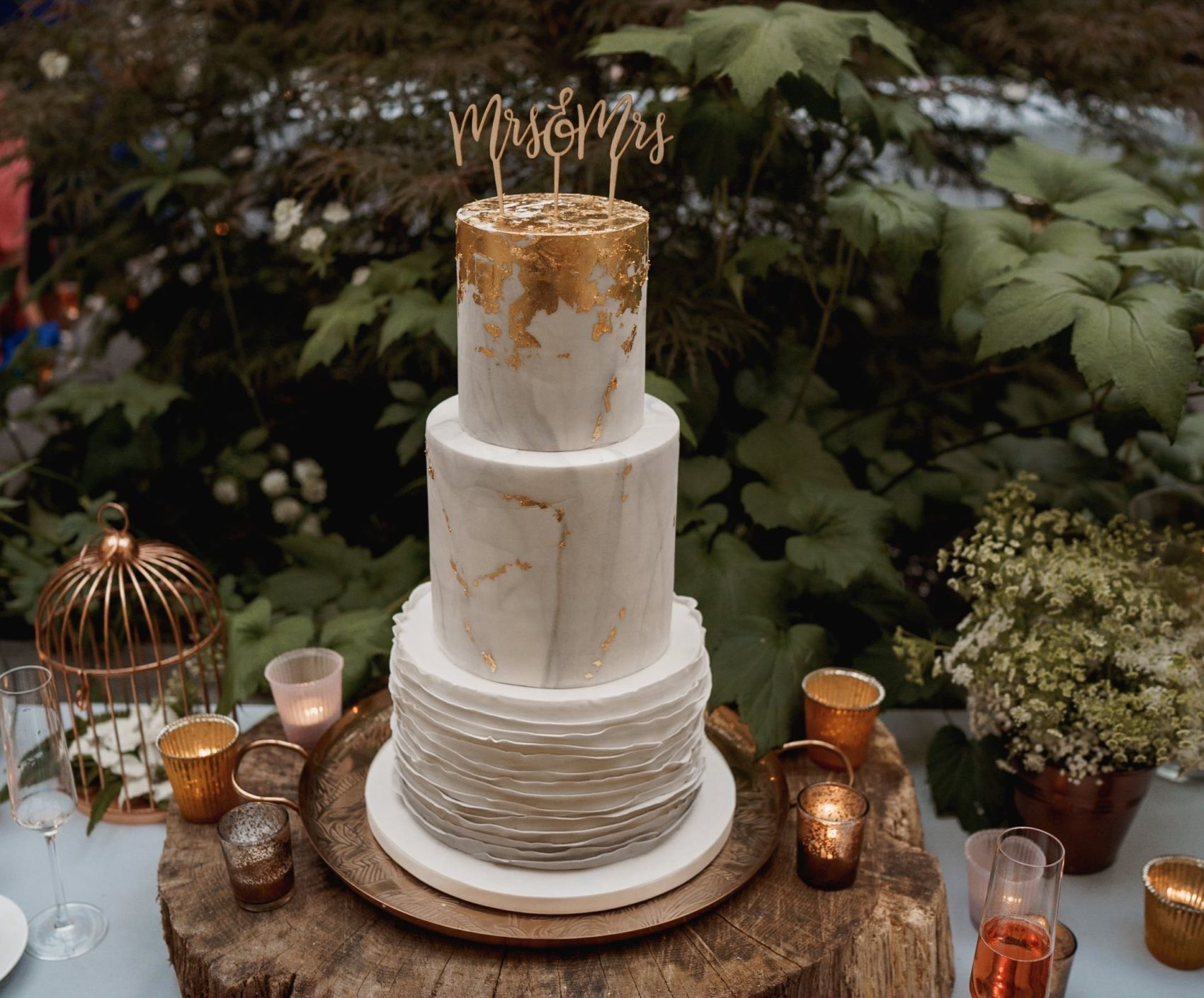 copper, rose gold, rose, cake, textures, tiers, cake topper, metal, mixed metal, layers, wedding, gold leaf, rustic, yummy, ever after,