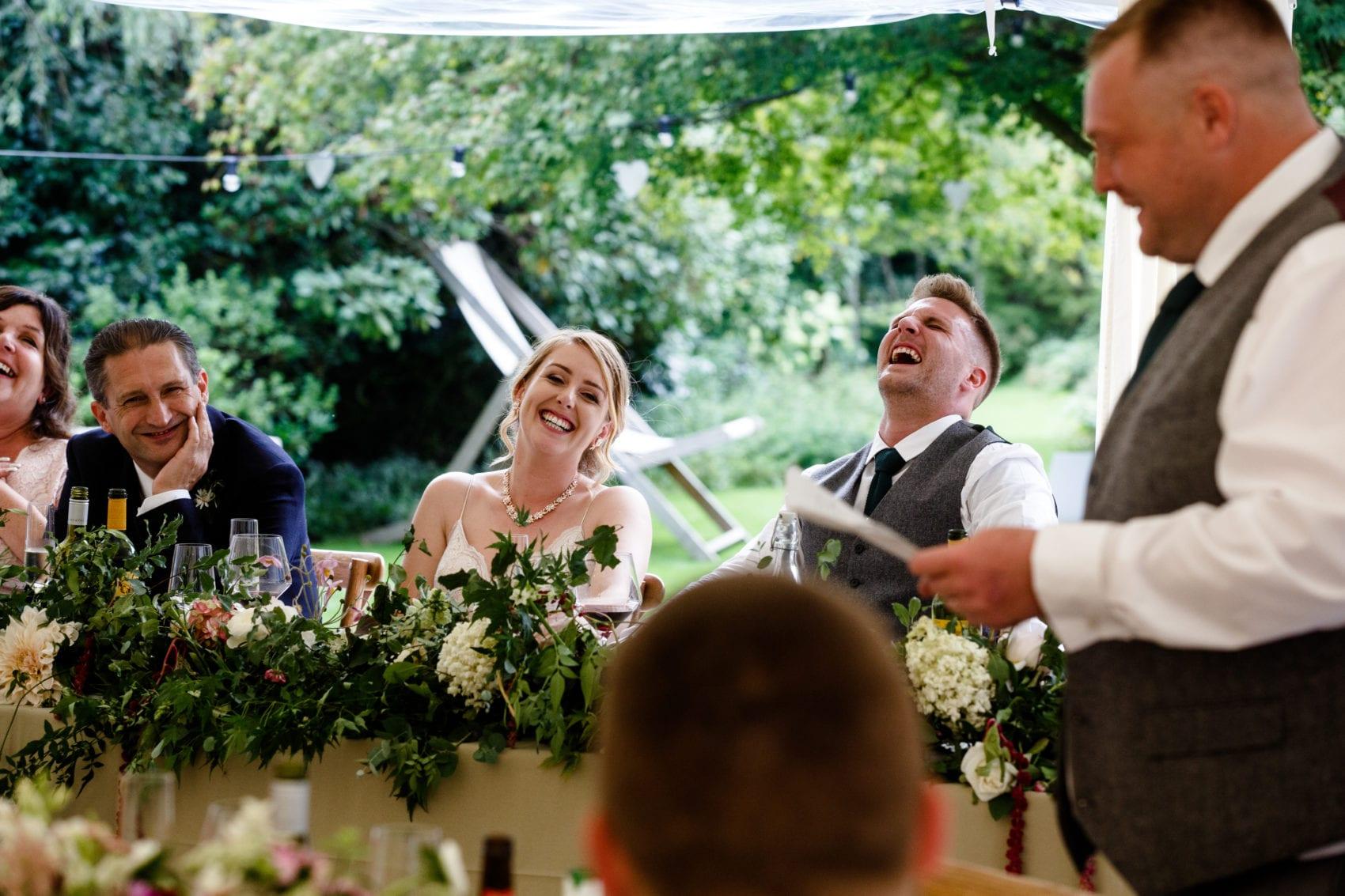 best man speech, bride & groom, speeches, wedding breakfast, laughing, summer wedding, ever after, lower grenofen, marquee