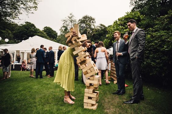 Jenga, balancing, falling, tumble, games, lawn games, guests, party, fun