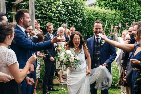 confetti throw, guests, friends, happiness, spontaneous, lawns, gardens, family, engaged