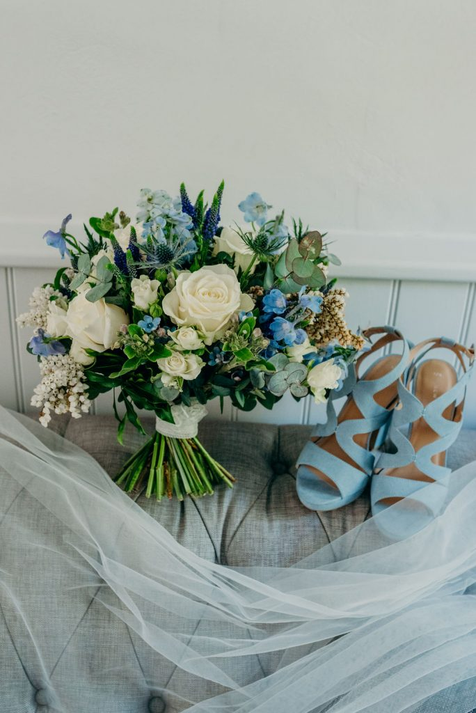 something blue, tradition, flowers, bouquet, veil, shoes, heels, baby blue, beautiful, details