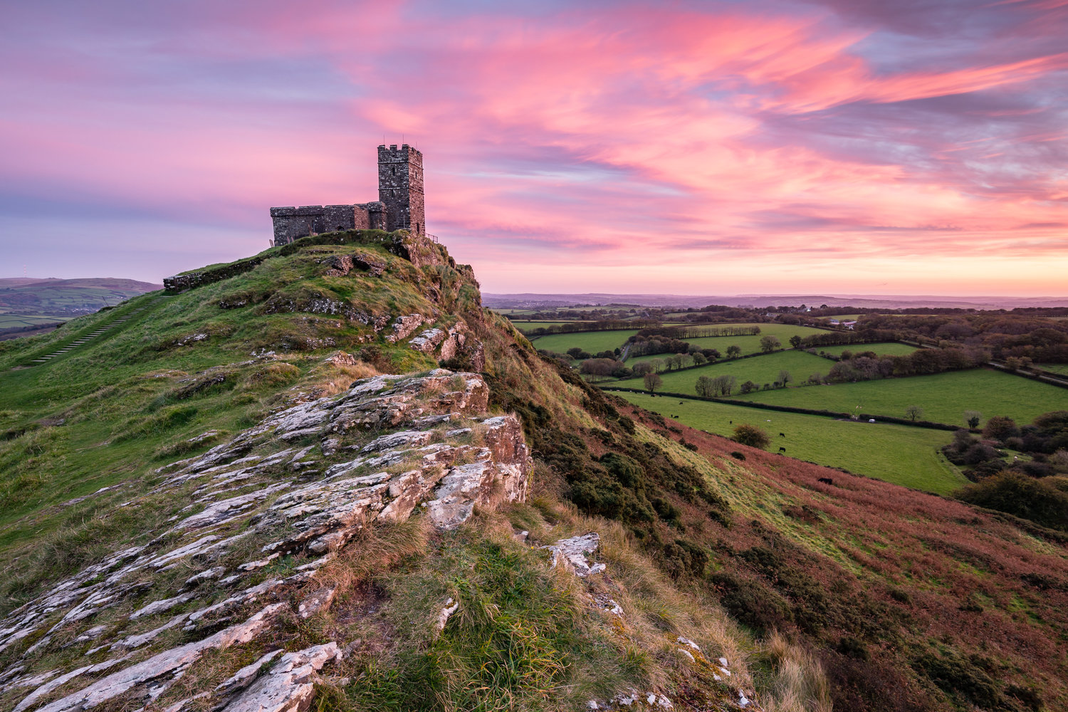 Brentor, church, local, Dartmoor, sunset, landscape, moorland