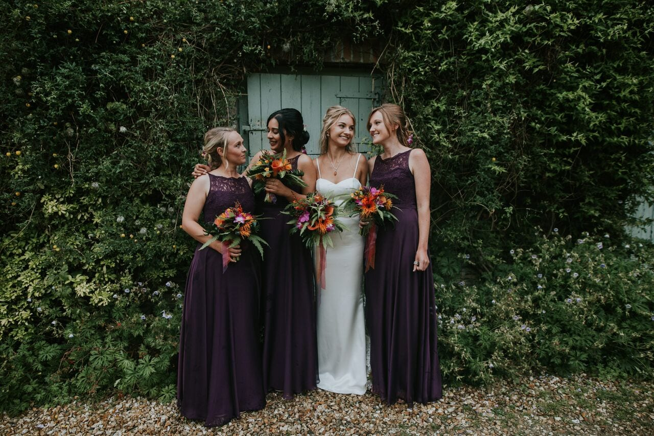 bridesmaid, dresses, friends, wedding, purple, flowers, bouquets, ever after, girls, lower grenofen, barn
