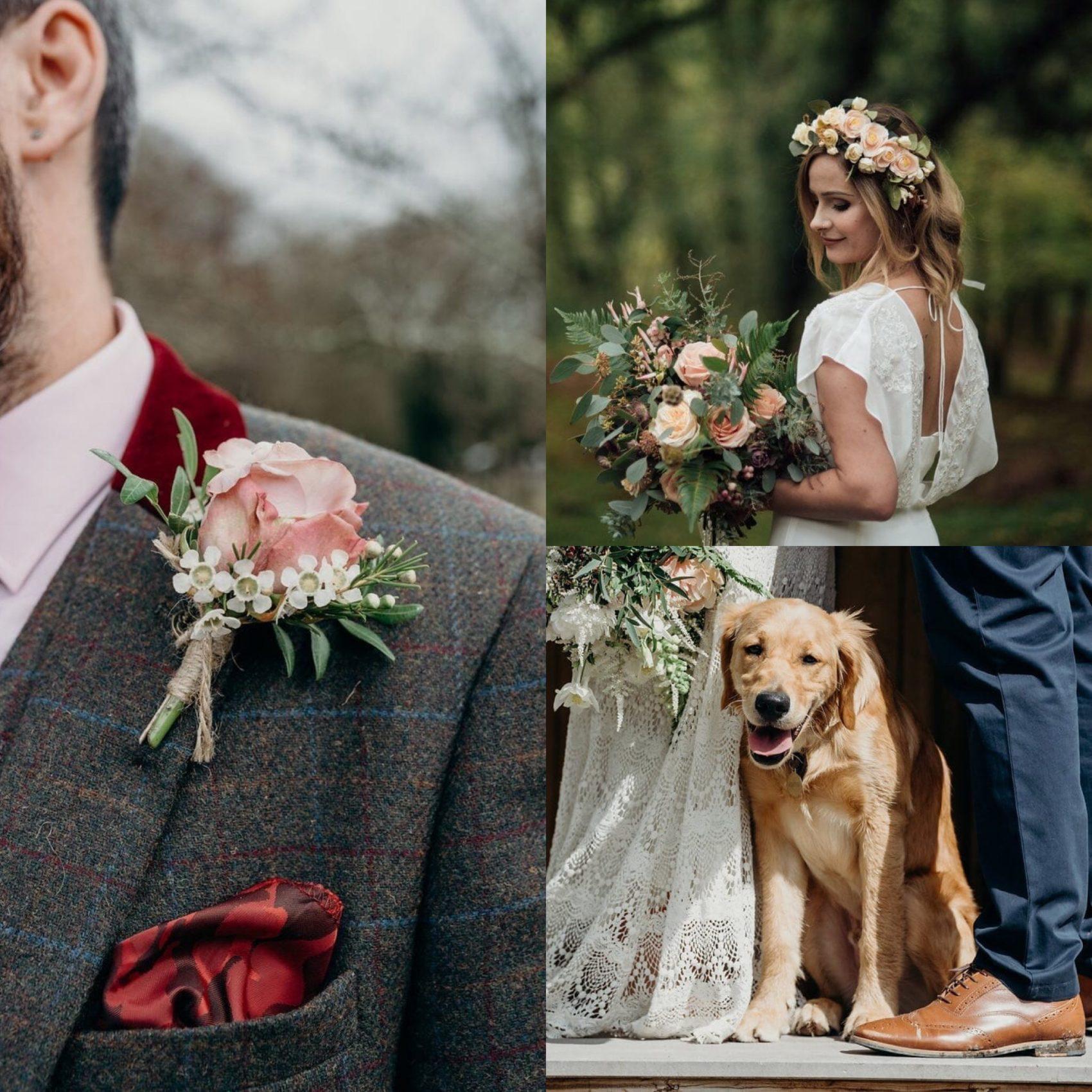 flowers, pet, dog, pooch, wedding, details, close up, ever after, lower grenofen, boho, chic, rustic,