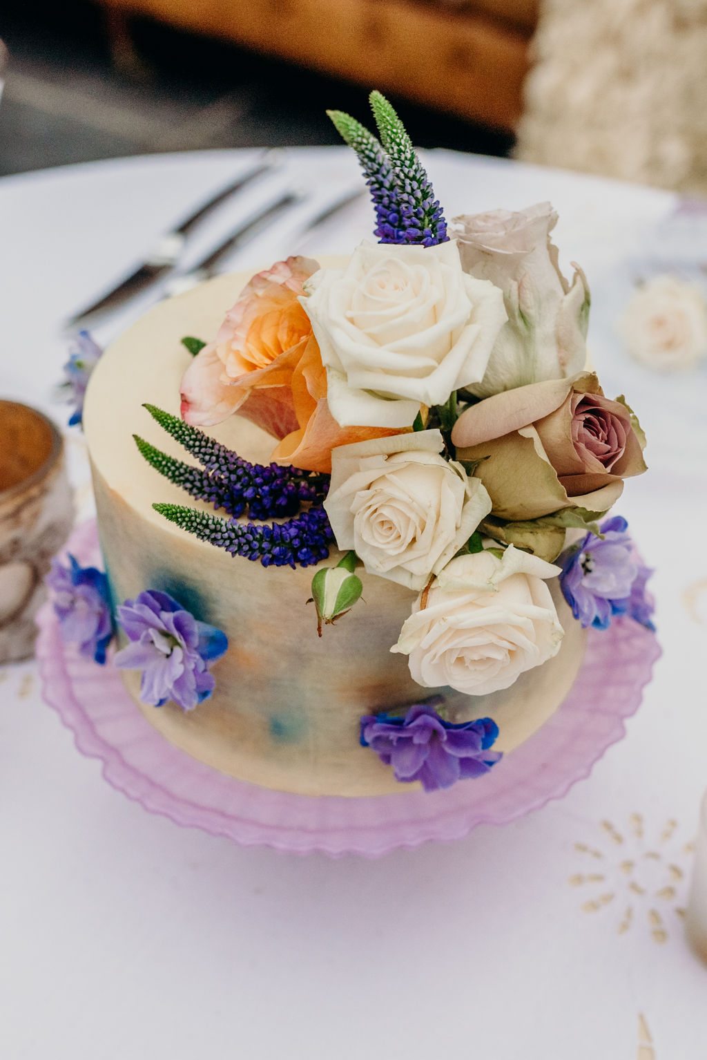 colourful cake, elopement cakes, water colour, bright flowers, painted, pretty