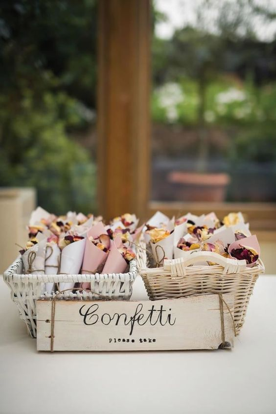 confetti, cones, basket, with love, wedding, beautiful, colourful