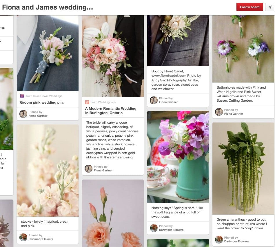 Trailing green amaranthus and pale pink peonies were on Fiona's must-have list