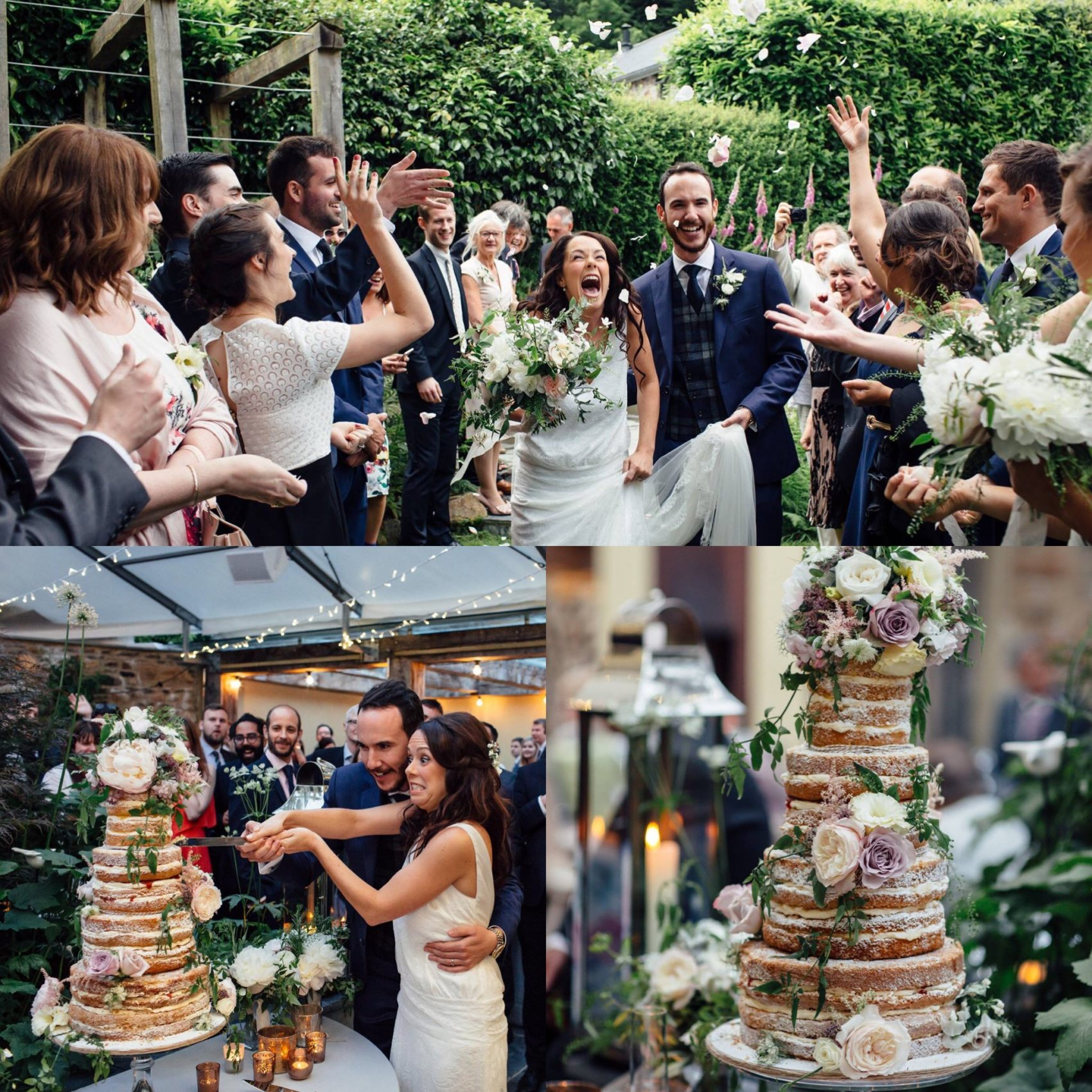 Happiness, wedding, wedding party, friends, guests, cake, tiers, cutting the cake, comical, confetti, shot, action, flowers, naked cake, freckle photography,