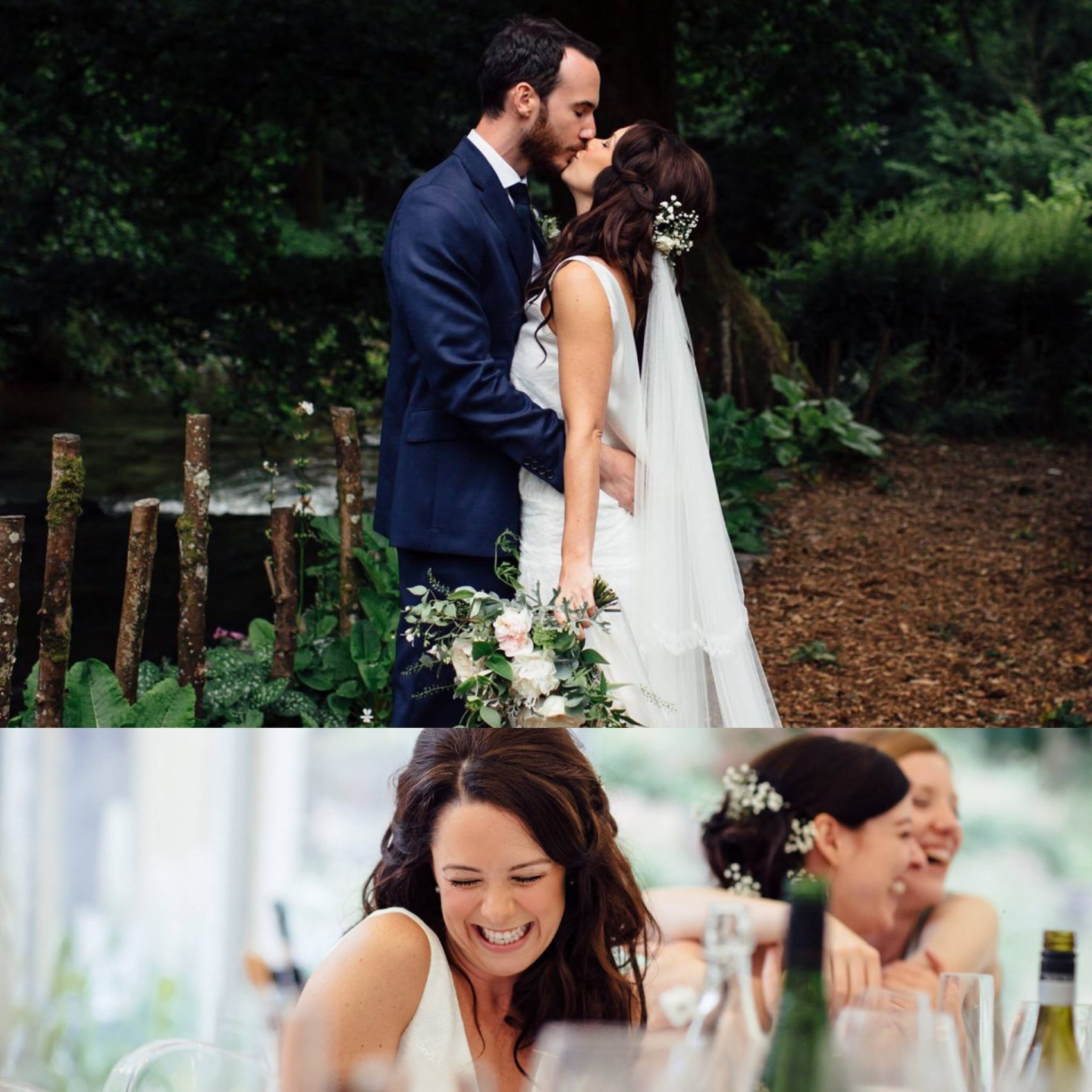 woodland, wedding, happy, smiles, couple, bride & groom, perspective, nature, flowers, ever after, lower grenofen,