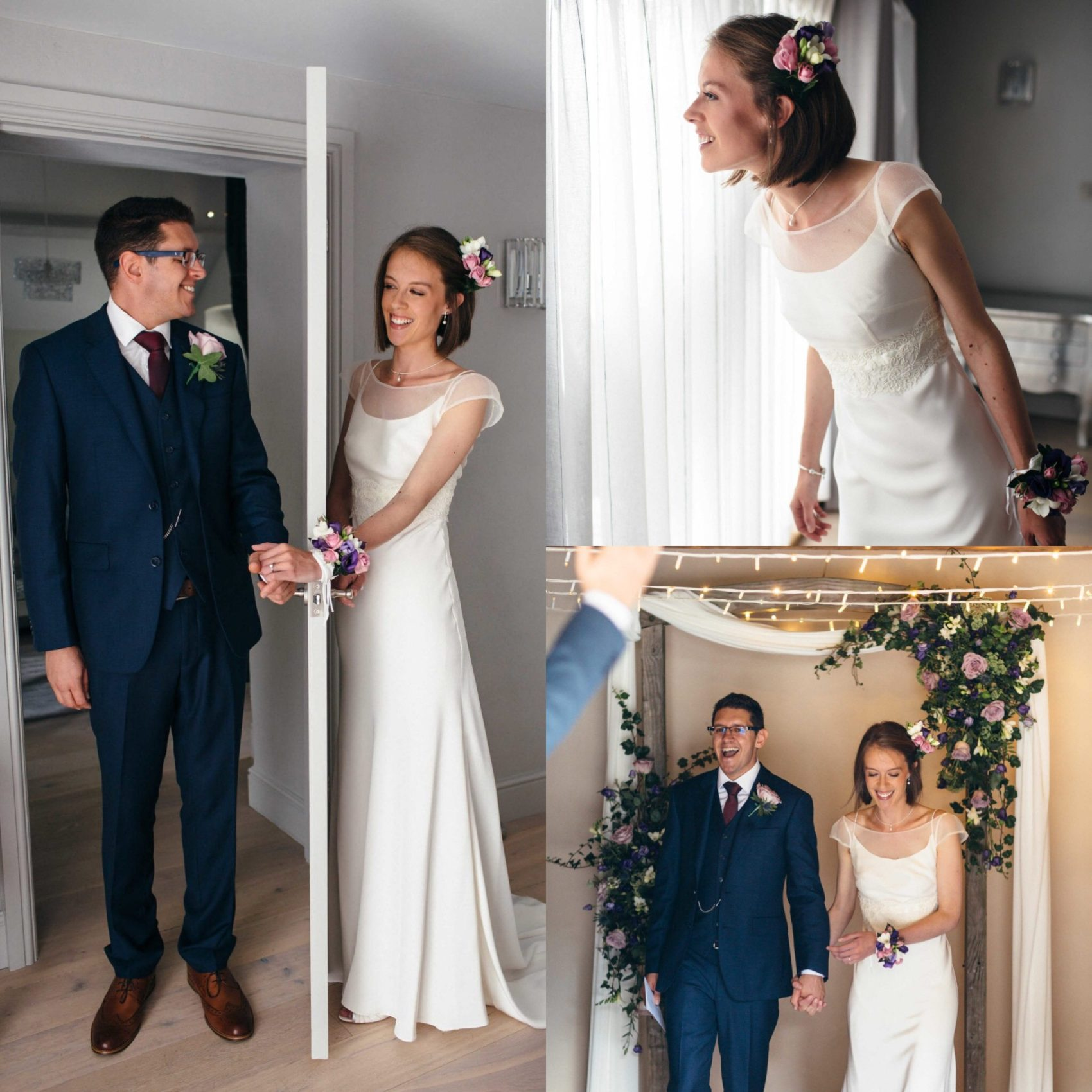 white wedding, getting ready, first look, bright, flowers, happy, lively, wedding, light, ever after, chic, lower grenofen, clean, sharp, bride & Groom