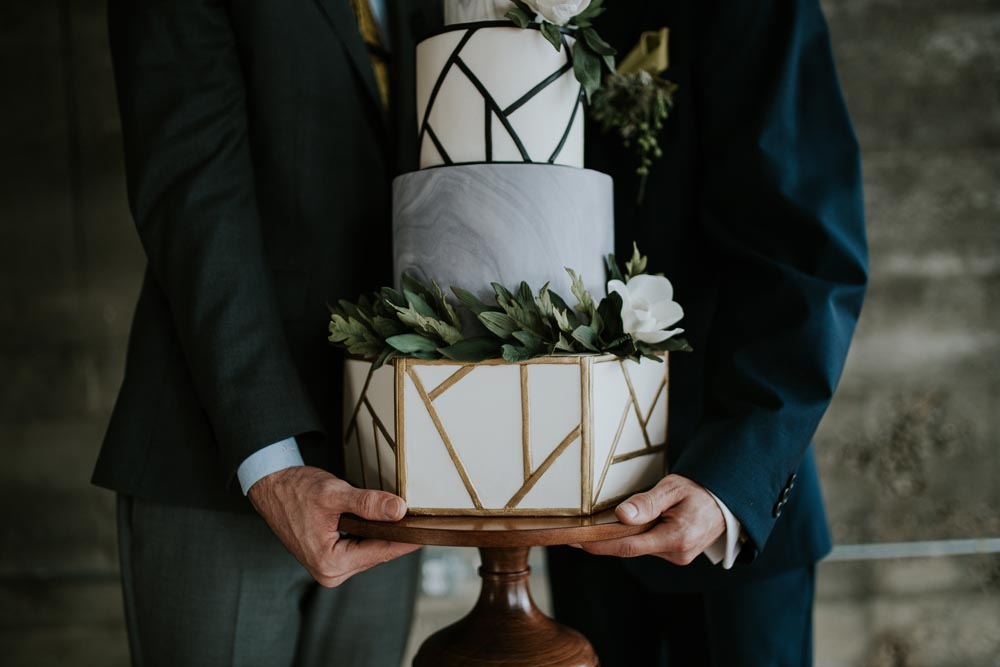 Geo, geometric, paint, fondant, icing, foliage, flowers, strong, layers, marble, tiers, cake stand, black and white, b&w, simple, effective, show stopper, style, trend, 2019