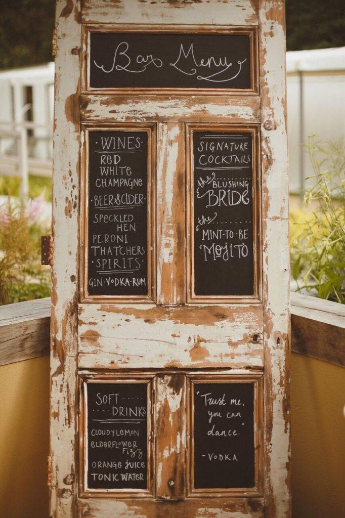 drinks reception decor blog post ever after's salvaged door