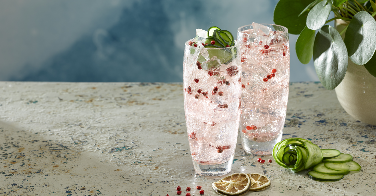 Romeo's gin, rose & sloe lemonade, elderflower liqueur, st. germain, cucumber, pink peppercorns, cocktail, masterpiece, delicious, summer vibes