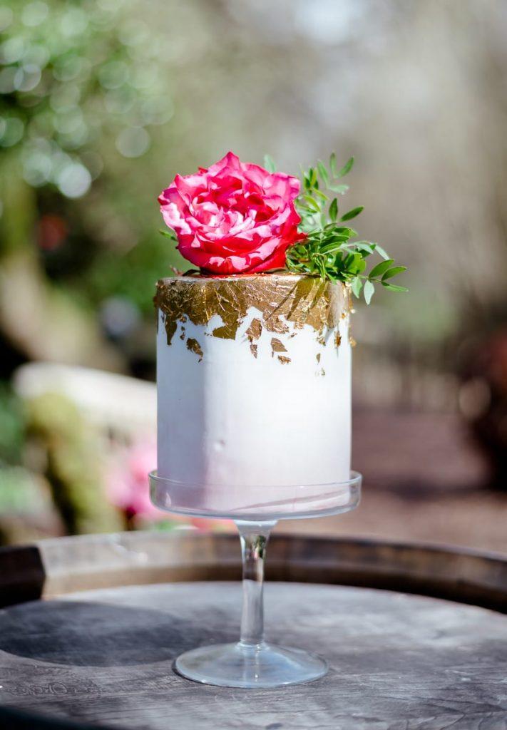 edible essence mini wedding cake gold pink flowers