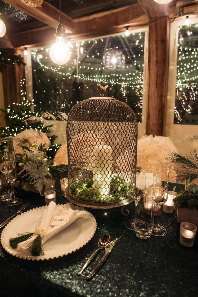 Christmas tablescape green fairy lights