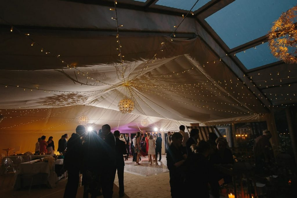 dartmoor wedding marquee interior evening lighting